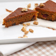 Fresh healthy carrots and walnuts cake dessert — Stock Photo