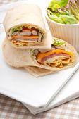 Club sandwich pita bread roll — Stock Photo
