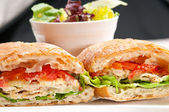 Ciabatta panini sandwich with chicken and tomato — Stock Photo