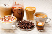 Selection of different coffee type — Stock Photo