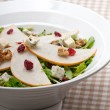 Fresh pears arugula gorgonzola cheese salad — Stock Photo