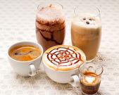 不同的咖啡类型的选择 — 图库照片