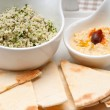 Taboulii couscous with hummus - Stockfoto