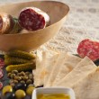 Постер, плакат: Cold cut platter with pita bread and pickles