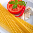 Stock Photo: Italispaghetti pasttomato ingredients