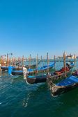 Venice Italy pittoresque view of gondolas — Stock Photo