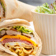 Club sandwich pitbread roll — Stock Photo #27963307