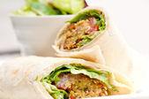 Falafel pita bread roll wrap sandwich — Stock Photo