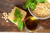 Italian basil pesto ingredients — Stock Photo