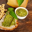 Italian basil pesto bruschetta ingredients — Stock Photo #33271439
