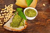 Italian basil pesto bruschetta ingredients — Stock Photo