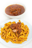 Fusilli pasta with neapolitan style ragu meat sauce — Stock Photo