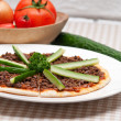 Photo: Turkish beef pizzwith cucumber on top