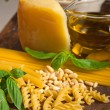 Italian basil pesto pasta ingredients — Stock Photo