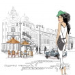 Stock Vector: Fashion girl on street of old city