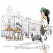 Stock Vector: Fashion girl on the street of the old city