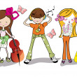 Stock Vector: Fashion cartoon children with musical instruments