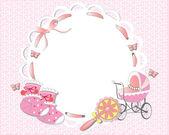 Marco rosa bebé niña — Vector de stock