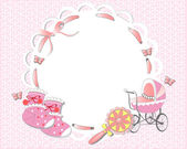 Pink baby girl frame — Stock Vector