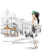Fashion girl on the street of the old city — Vector de stock