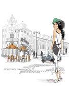 旧市街の通りにファッションの女の子 — ストックベクタ