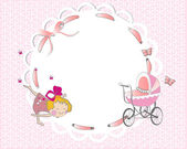 Baby girl frame with a cute girl and a pink ribbon — Stock Vector