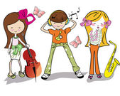 Fashion cartoon children with musical instruments — Stock Vector