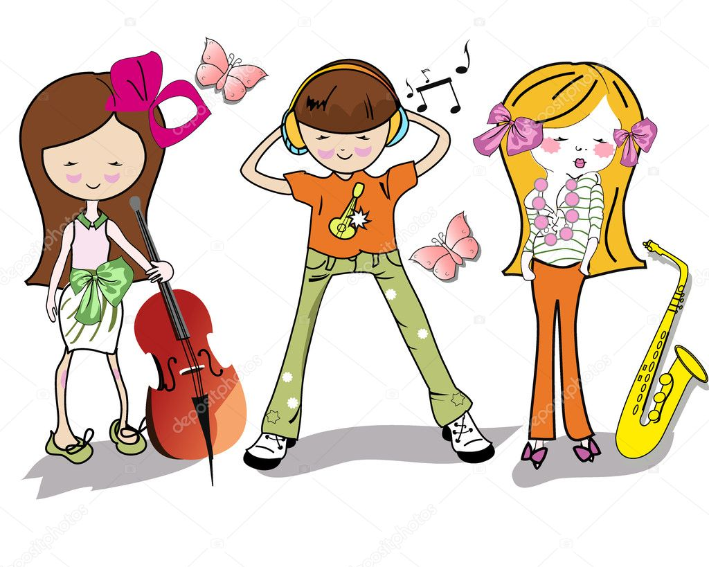 Fashion cartoon children with musical instruments stock illustration