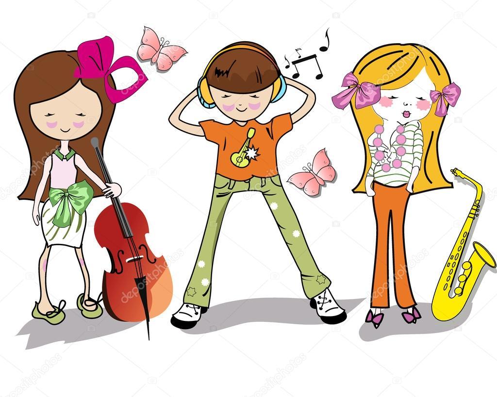 Fashion cartoon children with musical instruments stock illustration