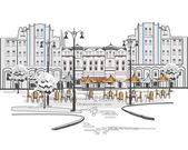 Series of sketches of beautiful old city views with cafes — Vector de stock