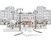 Série de croquis de belle vue sur la ville ancienne avec cafés — Vecteur