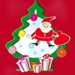Red background with paper Christmas tree, Santa Claus and gifts — Stockvectorbeeld