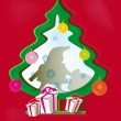 Stock Vector: Red background with paper Christmas tree, SantClaus and gifts