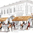 Series of sketches of beautiful old city views with cafes — Vector de stock #14117535