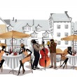 Series of sketches of beautiful old city views with cafes — Vector de stock #14117539