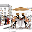 Series of sketches of beautiful old city views with cafes — Vector de stock #14117542