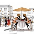 Series of sketches of beautiful old city views with cafes — 图库矢量图片 #14117542