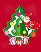 Red background with paper Christmas tree, Santa Claus and gifts — Stok Vektör