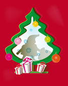 Red background with paper Christmas tree, Santa Claus and gifts — Vector de stock