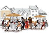 Serie de dibujos de hermosas vistas de la ciudad vieja con cafés — Vector de stock