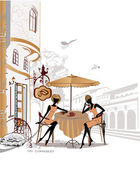 Series of sketches of beautiful old city views with cafes — 图库矢量图片