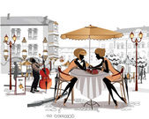 Series of sketches of beautiful old city views with cafes — Stockvektor