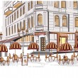Stock Vector: series of sketches of beautiful old city views with cafes
