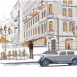 Royalty-Free Stock Vector Image: Series of sketches of beautiful old city views with cafes