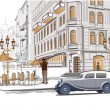 Series of sketches of beautiful old city views with cafes — Imagen vectorial