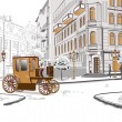 Vecteur: Series of sketches of beautiful old city views with cafes