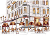 Series of sketches of beautiful old city views with cafes — Stok Vektör