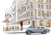 Series of sketches of beautiful old city views with cafes — ストックベクタ