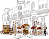 Series of sketches of beautiful old city views with cafes — Vettoriale Stock