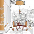 Stock Vector: Series of street cafes in old city